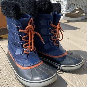 SOREL Winter Carnival blue and black fleece boot